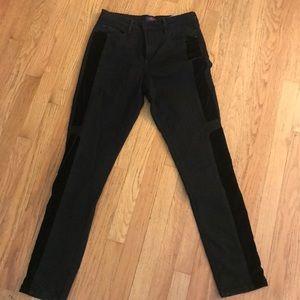 NYDJ black with velvet trim jeans